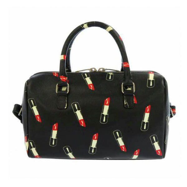 Black YSL Lipstick Leather Satchel Bag