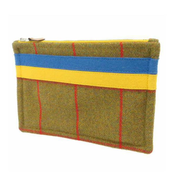 Yellow Hermes Plaid Wool Pouch
