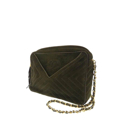 Brown Chanel Chevron Suede Shoulder Bag