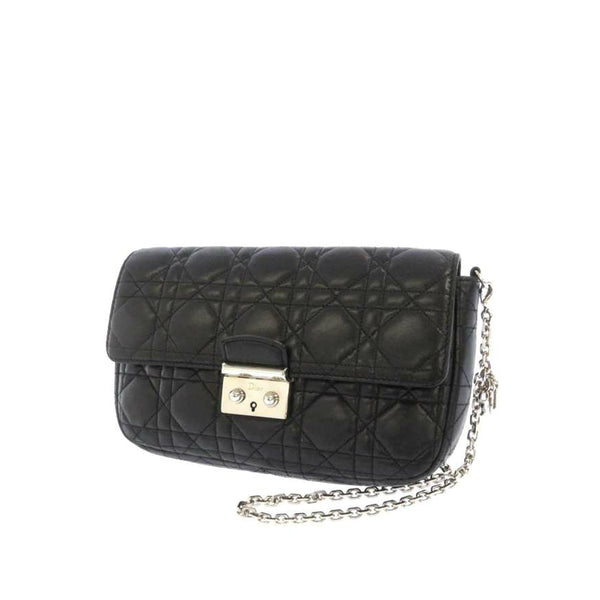 Black Dior Cannage Miss Dior Promenade Chain Leather Crossbody Bag