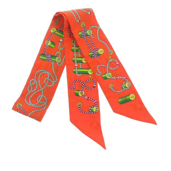 Orange Hermes Printed Twilly Silk Scarf
