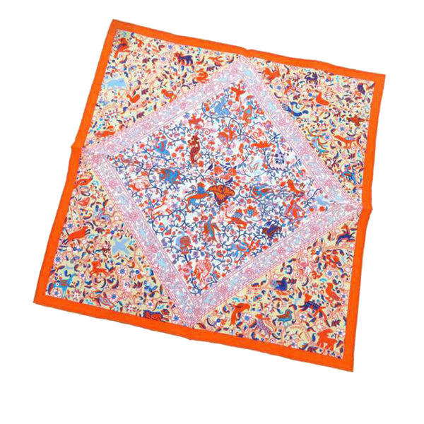 Orange Hermes Printed Silk Scarf