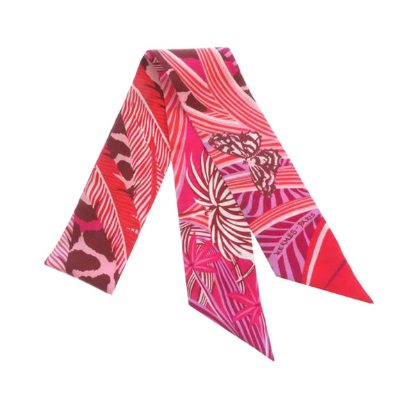 Pink Hermes Printed Twilly Silk Scarf