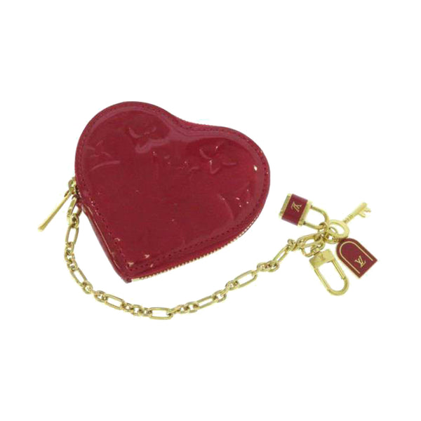 Red Louis Vuitton Monogram Vernis Heart Coin Purse