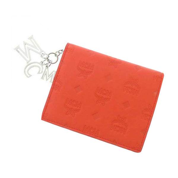 Red MCM Bi-fold Visetos Leather Small Wallet