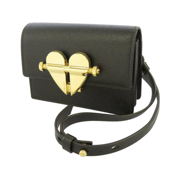 Black Prada Mini Saffiano Heart Crossbody Bag