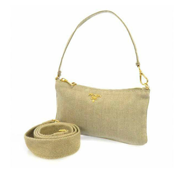 Brown Prada Canapa Canvas Satchel Bag