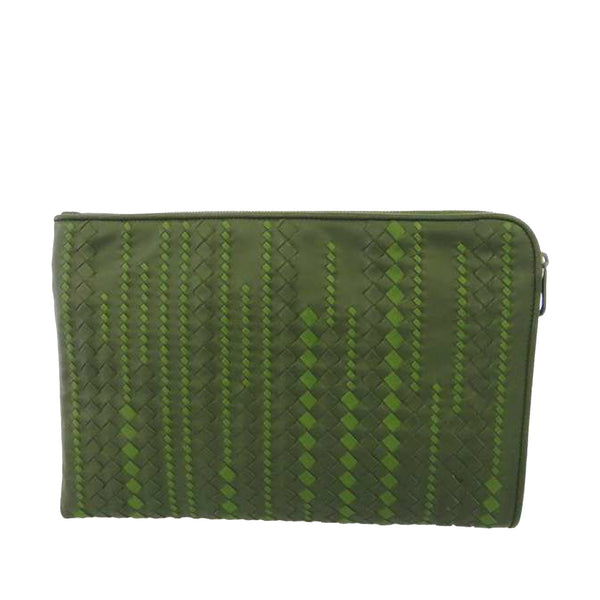 Green Bottega Veneta Intrecciato Leather Pouch