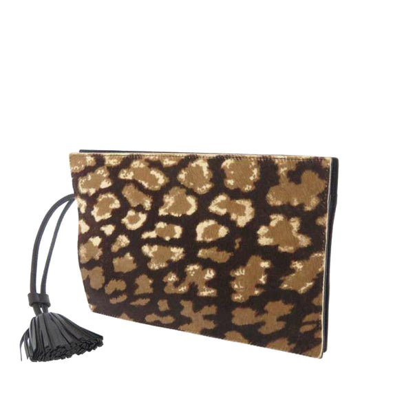 Brown Loewe Pony Hair Clutch Bag