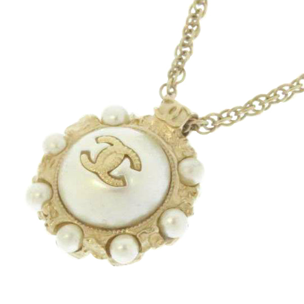 White Chanel CC Faux Pearl Pendant Necklace
