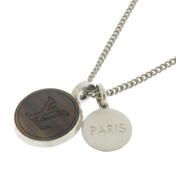 Silver Louis Vuitton LV Horn Necklace