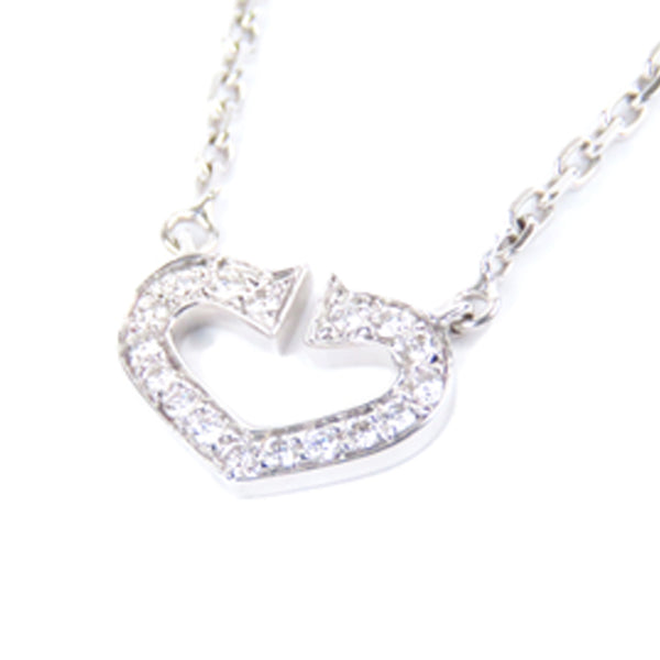 Silver Cartier Diamond Heart of Cartier Pendant Necklace