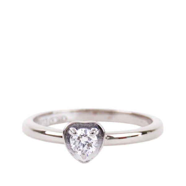 SIlver Cartier Diamants Legers Heart Diamond Solitaire Ring