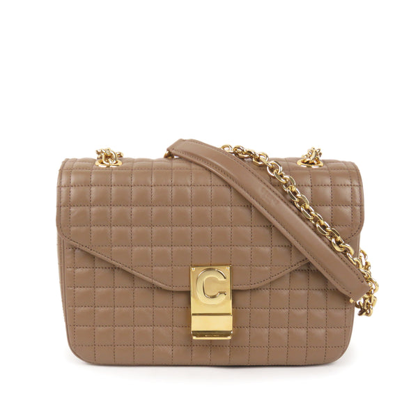 Brown Celine Medium Quilted C Bag