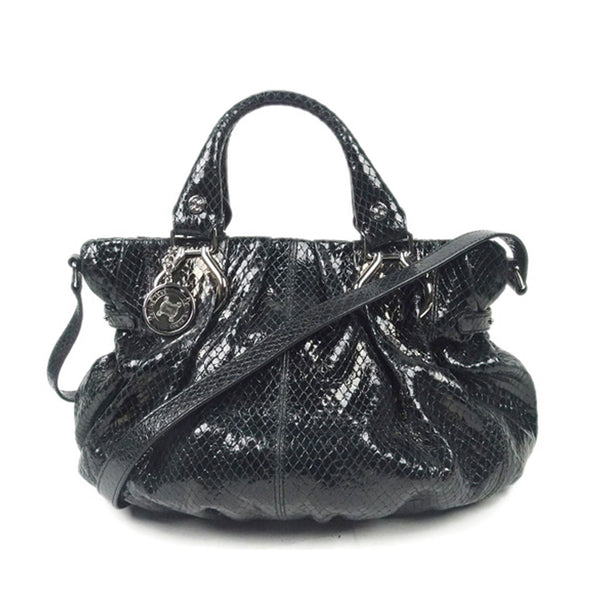 Black Celine Patent Leather Satchel Bag