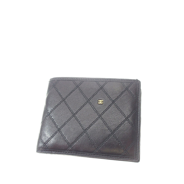 Black Chanel Matelasse Leather Small Wallet