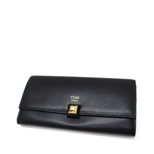 Black Fendi Leather Continental Wallet