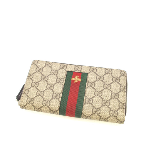 Brown Gucci GG Supreme Web Zip Around Wallet