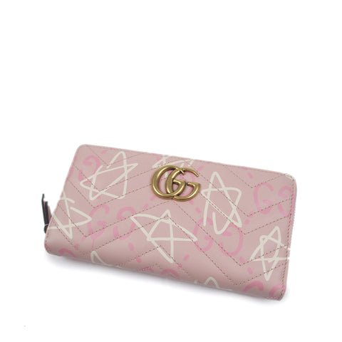 Pink Gucci GucciGhost Zip Around Wallet