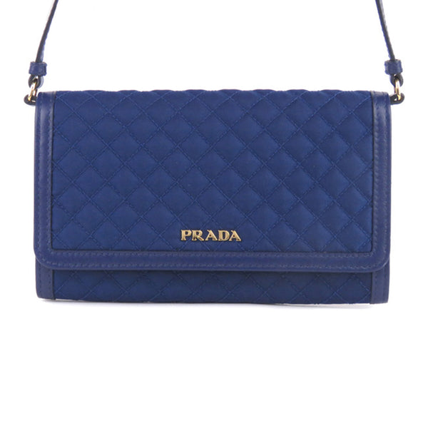 Blue Prada Quilted Tessuto Wallet on Strap