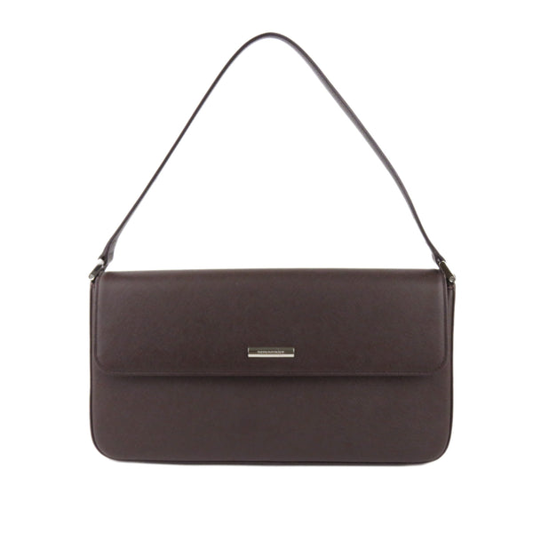 Brown Burberry Leather Baguette