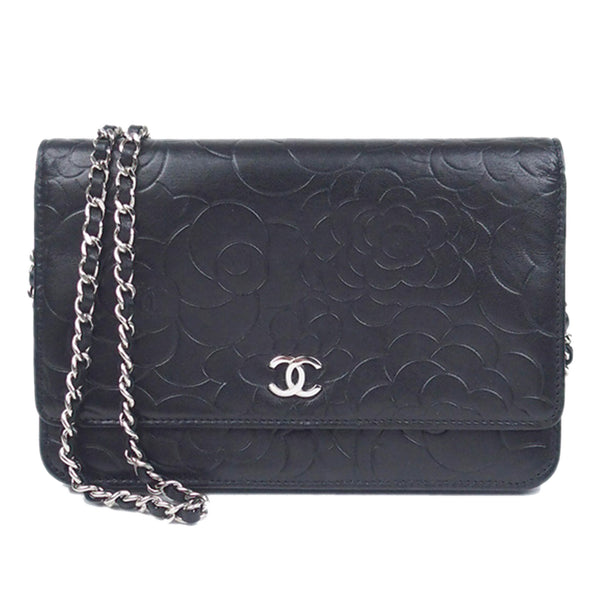 Black Chanel Camellia Lambskin Leather Wallet on Chain
