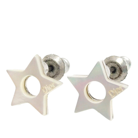 Silver Dior Star Pushback Earrings