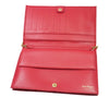 Red Ferragamo Embossed Leather Wallet On Chain