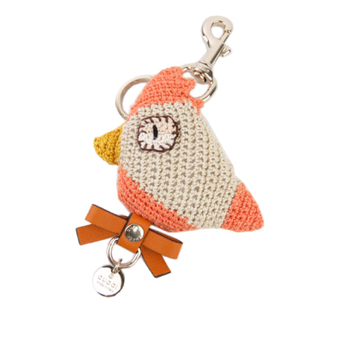 White Gucci Knitted Bird Key Chain
