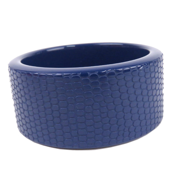 Blue Hermes Lacquered Wood Bangle