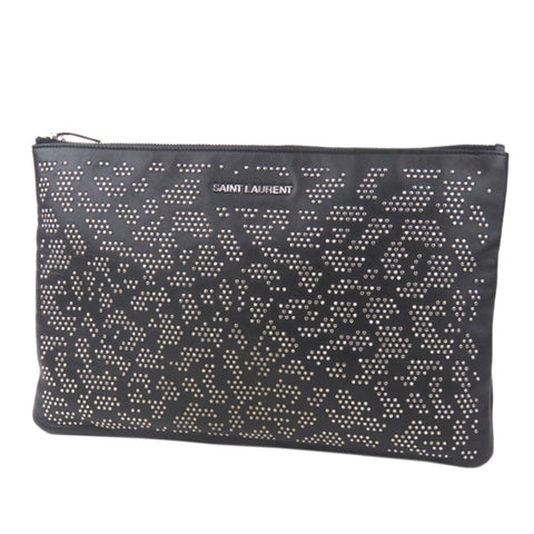 Black YSL Studded Clutch Bag
