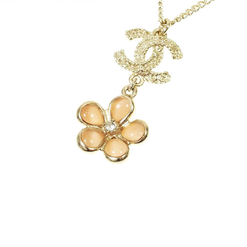 Gold Chanel CC Flower Necklace