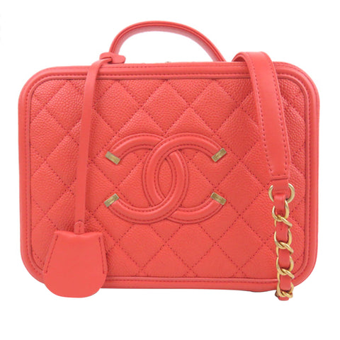 Red Chanel Caviar CC Filigree Vanity Case Bag