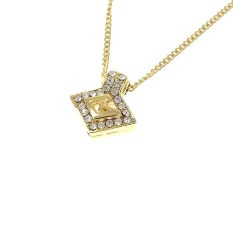 Gold Givenchy G Logo Rhinestone Pendant Necklace