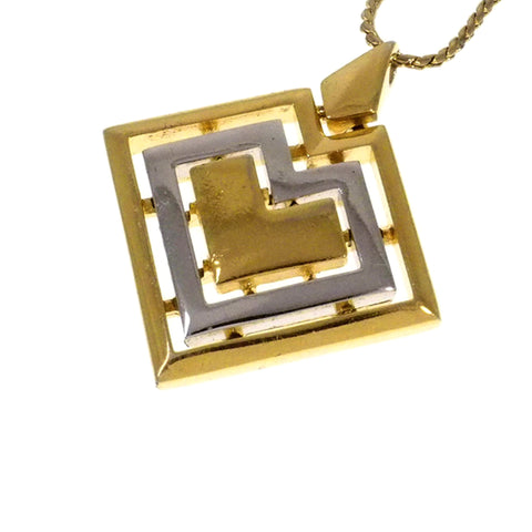 Gold Givenchy Square Heart Pendant Necklace