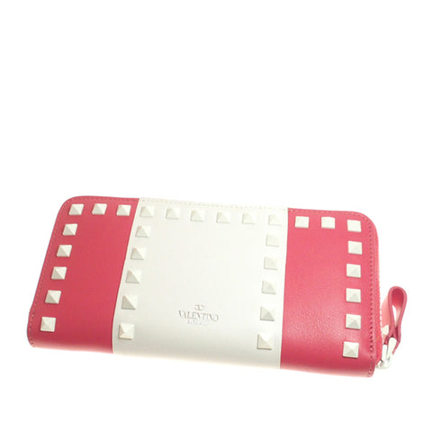Pink Valentino Rockstud Leather Long Wallet