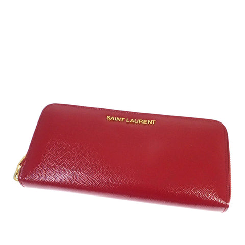 Red YSL Leather Zip Around Long Wallet