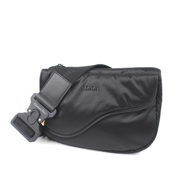 Black Dior Saddle Nylon Belt Bag