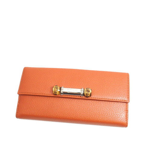 Orange Gucci Bamboo Leather Long Wallet