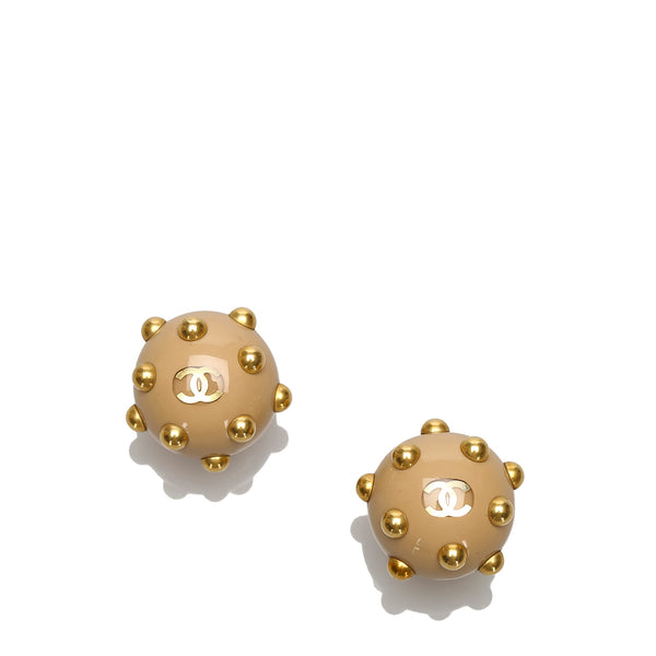 Gold Chanel Studded Earrings