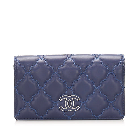 Blue Chanel CC Wild Stitch Leather Long Wallet