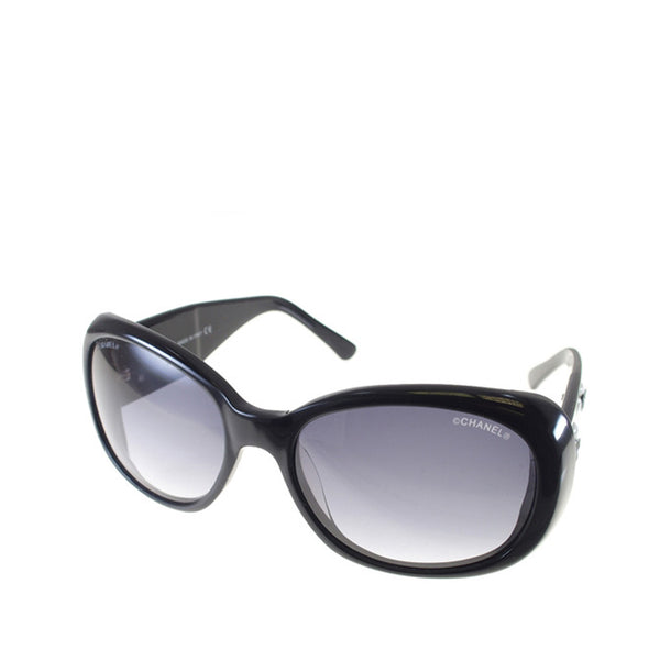 Black Chanel Camellia Motif Coco Mark Sunglasses