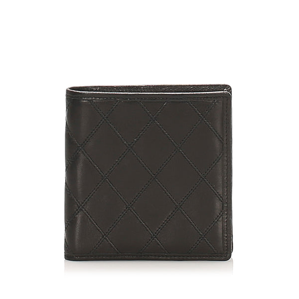 Silver Chanel Leather Bifold Wallet