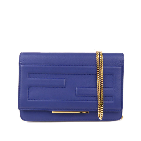 Blue Fendi Tube Leather Wallet on Chain