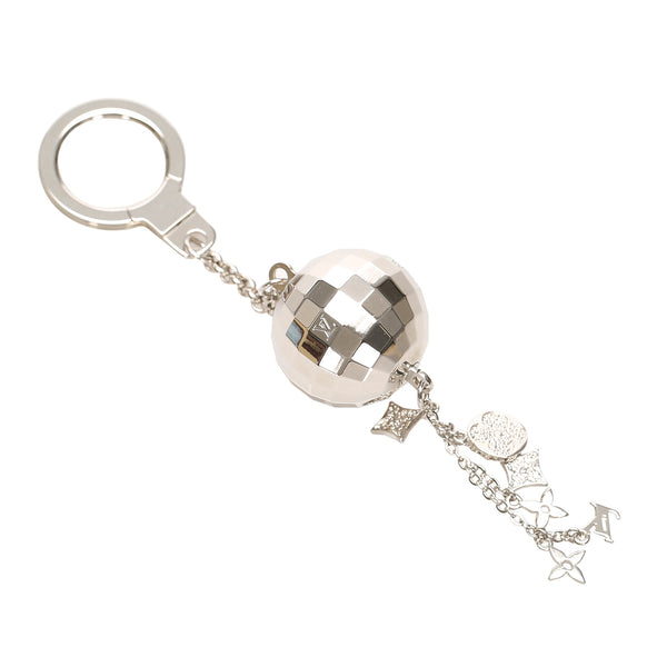 Silver Louis Vuitton Glitter Mirror Ball Key Chain