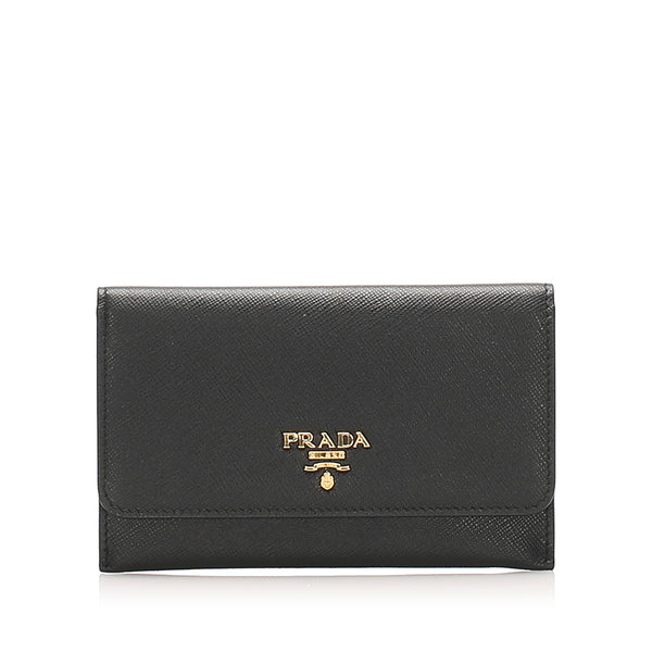 Blue Prada Saffiano Leather Card Holder