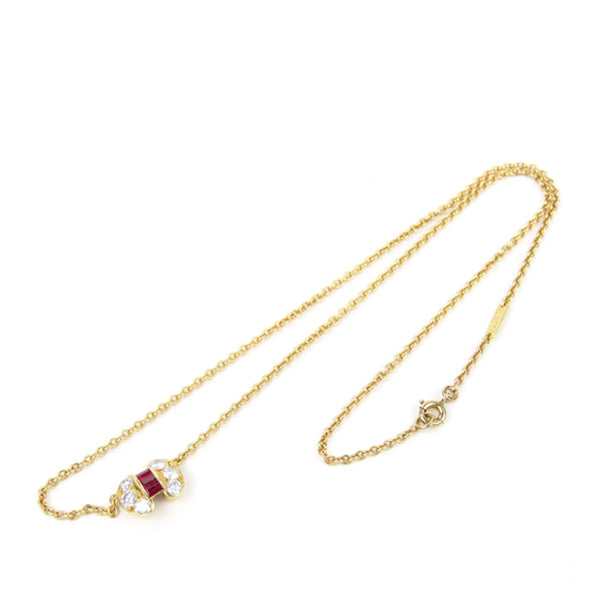 Gold Van Cleef and Arpels 18K Ruby Diamond Celestine Pendant Necklace