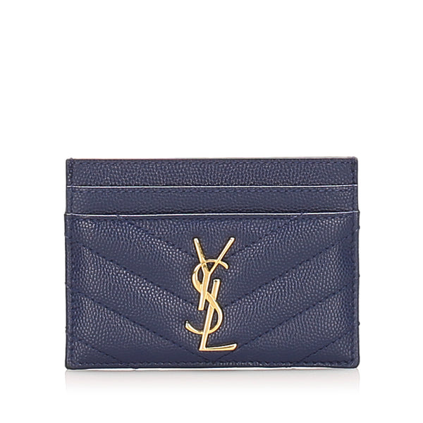 Blue YSL Monogram Card Holder