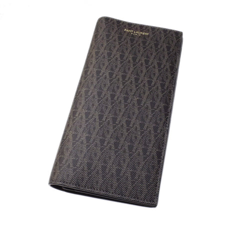 Black YSL Leather Monogram Wallet