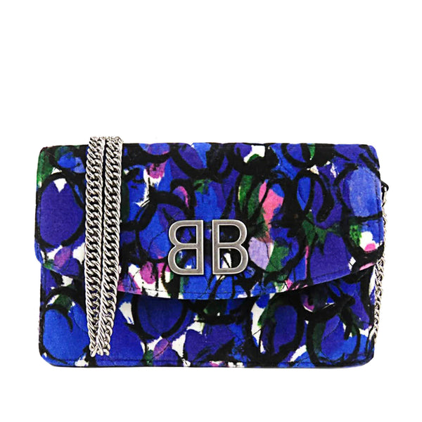 Blue Balenciaga BB Printed Velvet Wallet on Chain
